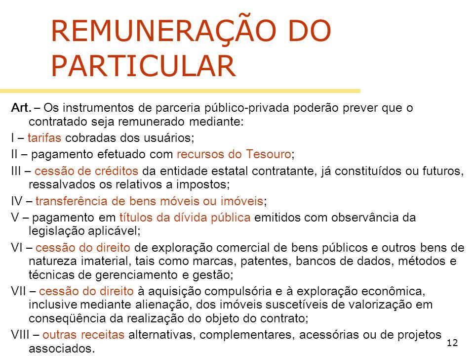 12 REMUNERAÇÃO DO PARTICULAR Art.