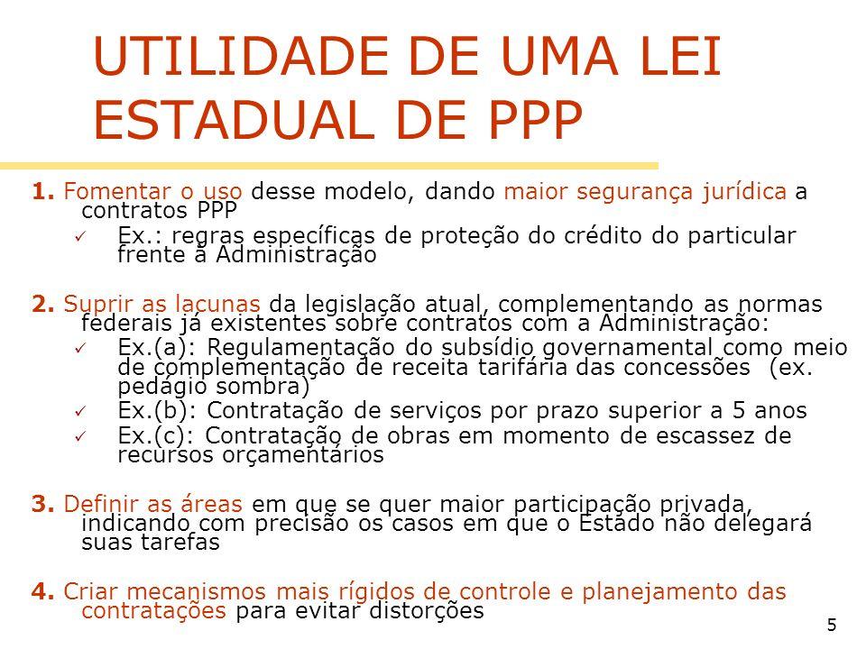 5 UTILIDADE DE UMA LEI ESTADUAL DE PPP 1. Fomentar o uso desse modelo, dando maior segurança jurídica a contratos PPP Ex.: regras específicas de prote