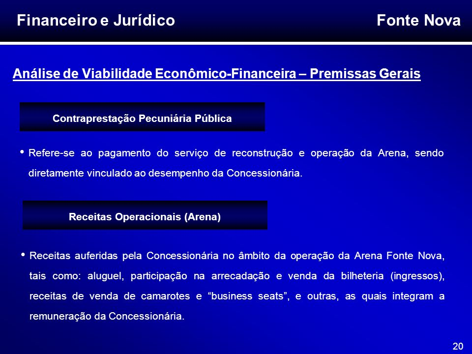 Fonte Nova 20 Financeiro e Jurídico Análise de Viabilidade Econômico-Financeira – Premissas Gerais Receitas auferidas pela Concessionária no âmbito da