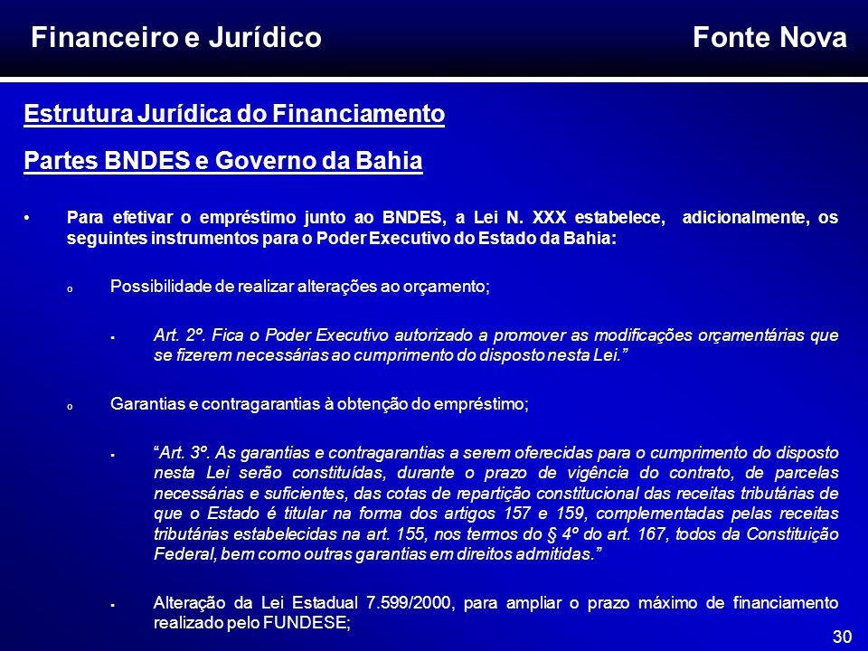 Fonte Nova 30 Financeiro e Jurídico Estrutura Jurídica do Financiamento Partes BNDES e Governo da Bahia Para efetivar o empréstimo junto ao BNDES, a L