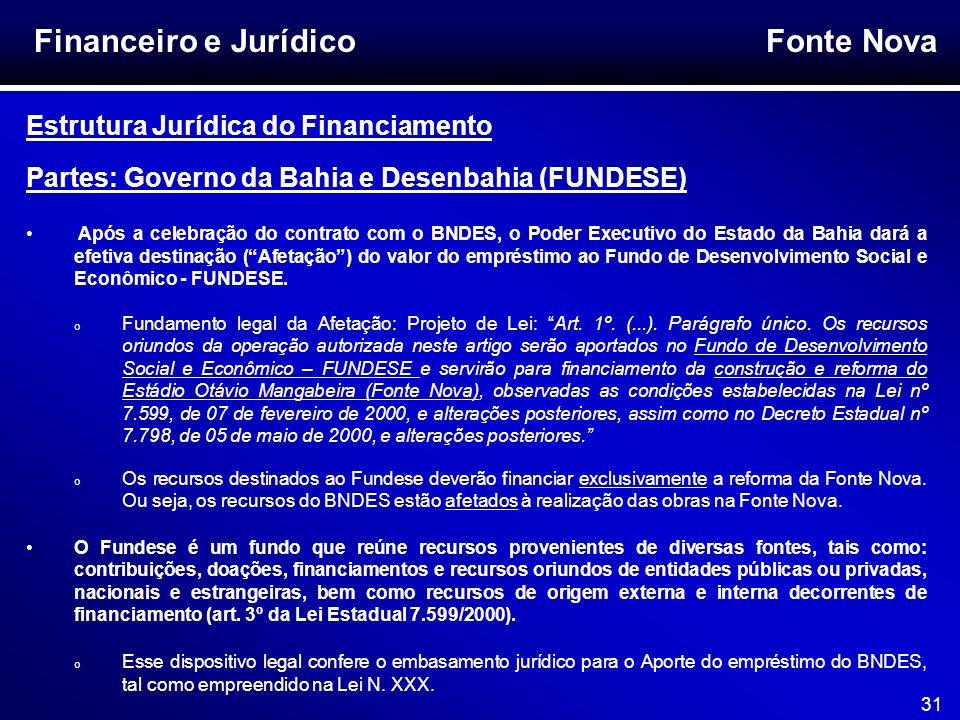 Fonte Nova 31 Financeiro e Jurídico Estrutura Jurídica do Financiamento Partes: Governo da Bahia e Desenbahia (FUNDESE) Após a celebração do contrato