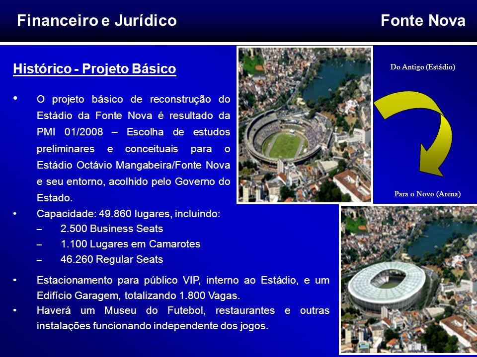 Fonte Nova 5 Financeiro e Jurídico Histórico - Projeto Básico O projeto básico de reconstrução do Estádio da Fonte Nova é resultado da PMI 01/2008 – E