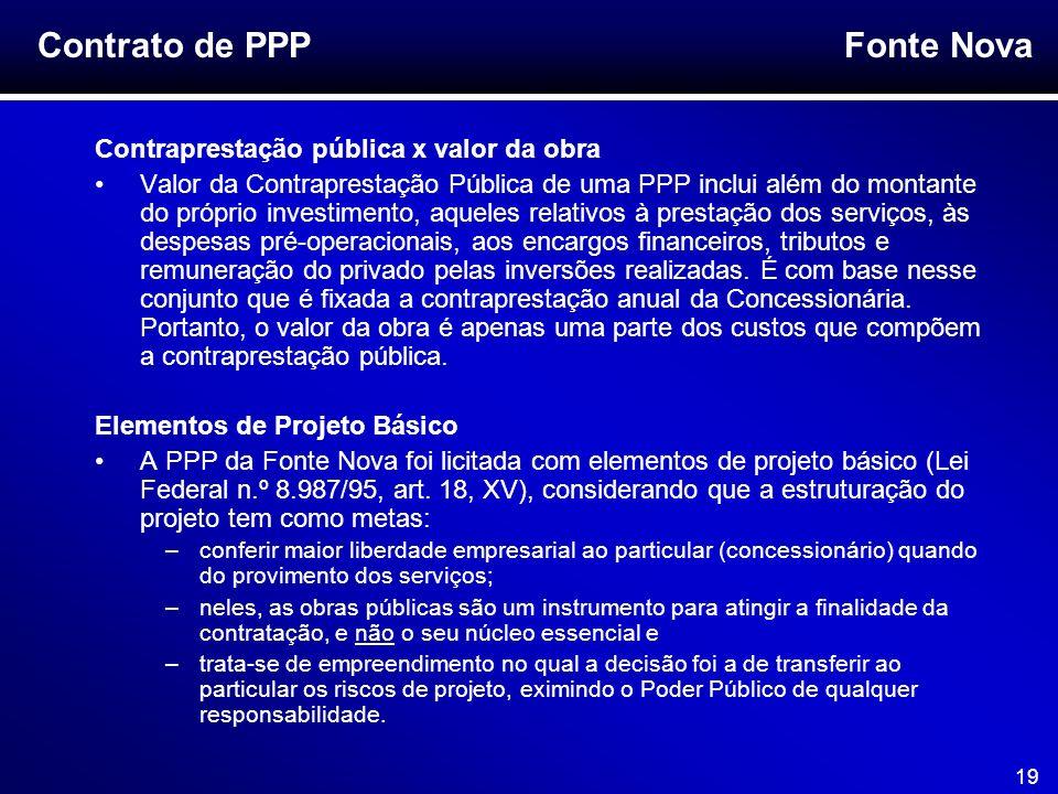 Fonte Nova 19 Contraprestação pública x valor da obra Valor da Contraprestação Pública de uma PPP inclui além do montante do próprio investimento, aqu
