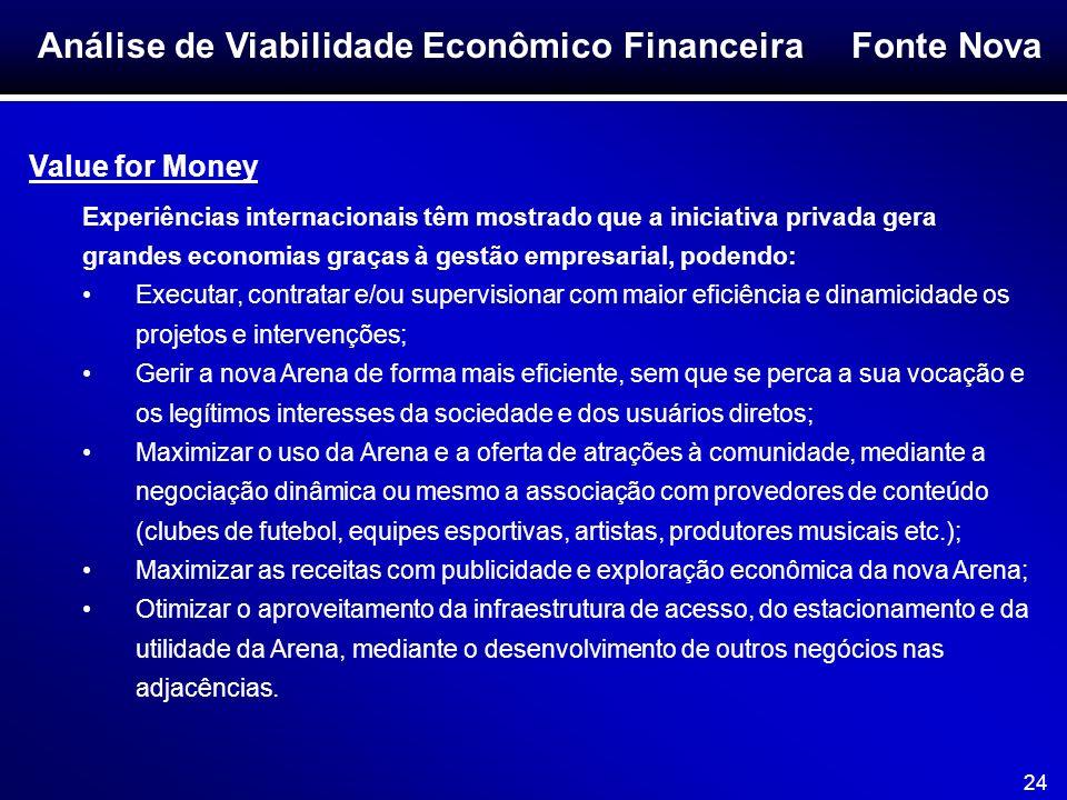 Fonte Nova 24 Análise de Viabilidade Econômico Financeira Value for Money Experiências internacionais têm mostrado que a iniciativa privada gera grand