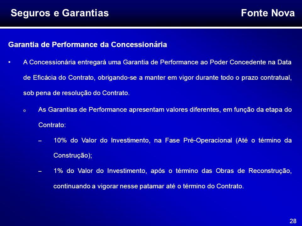 Fonte Nova 28 Seguros e Garantias Garantia de Performance da Concessionária A Concessionária entregará uma Garantia de Performance ao Poder Concedente