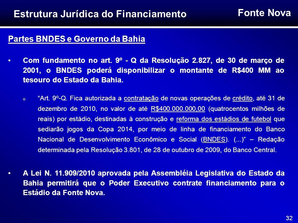 Fonte Nova 32 Partes BNDES e Governo da Bahia Com fundamento no art. 9º - Q da Resolução 2.827, de 30 de março de 2001, o BNDES poderá disponibilizar