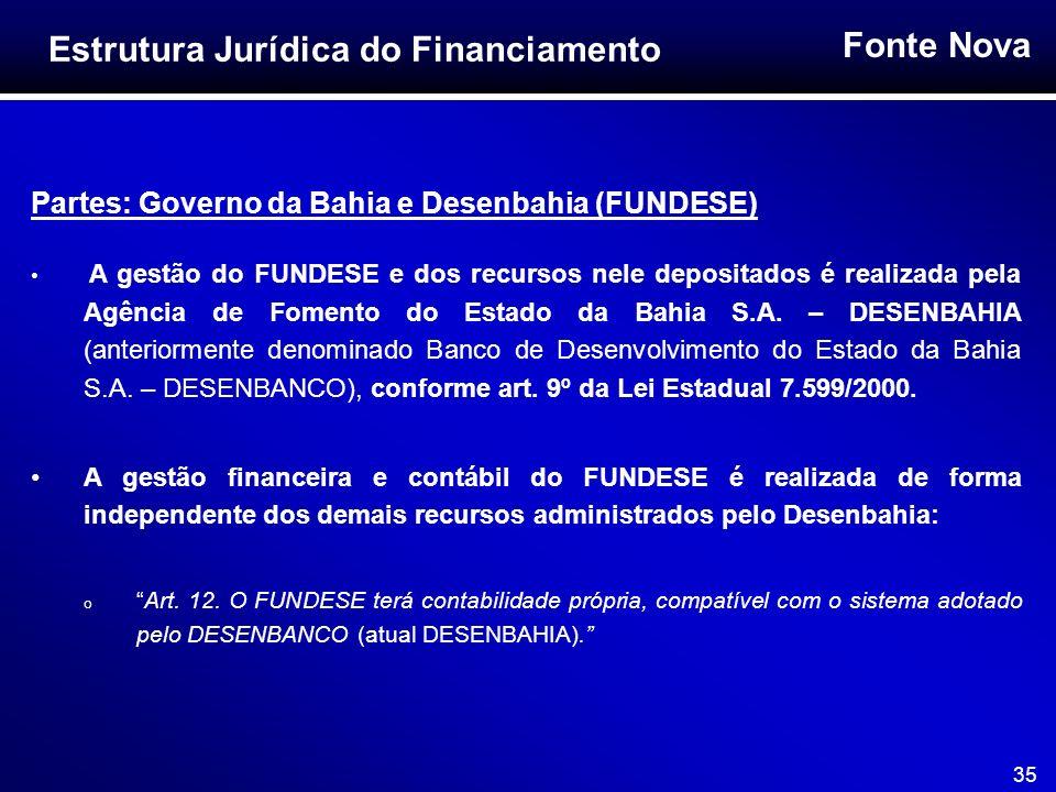 Fonte Nova 35 Partes: Governo da Bahia e Desenbahia (FUNDESE) A gestão do FUNDESE e dos recursos nele depositados é realizada pela Agência de Fomento