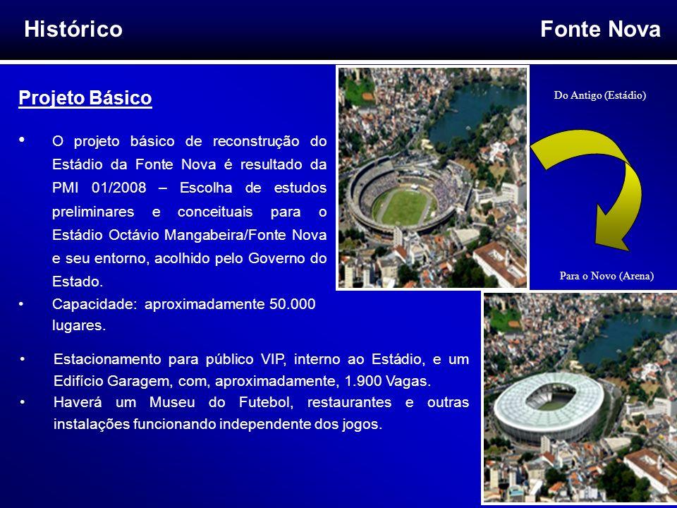 Fonte Nova 5 Histórico Projeto Básico O projeto básico de reconstrução do Estádio da Fonte Nova é resultado da PMI 01/2008 – Escolha de estudos prelim