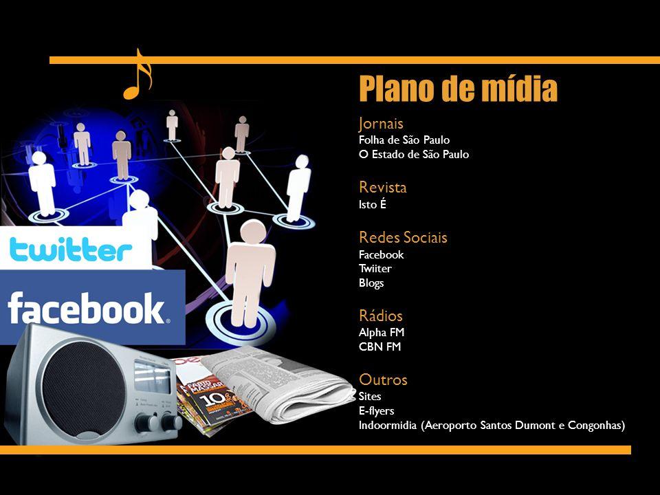 Jornais Folha de São Paulo O Estado de São Paulo Revista Isto É Redes Sociais Facebook Twiiter Blogs Rádios Alpha FM CBN FM Outros Sites E-flyers Indo