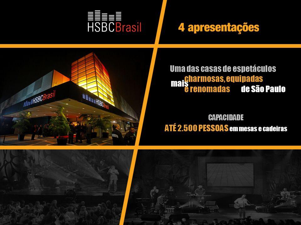 8 CAPACIDADE ATÉ 2.500 PESSOAS em mesas e cadeiras Uma das casas de espetáculos mais charmosas, equipadas e renomadas de São Paulo