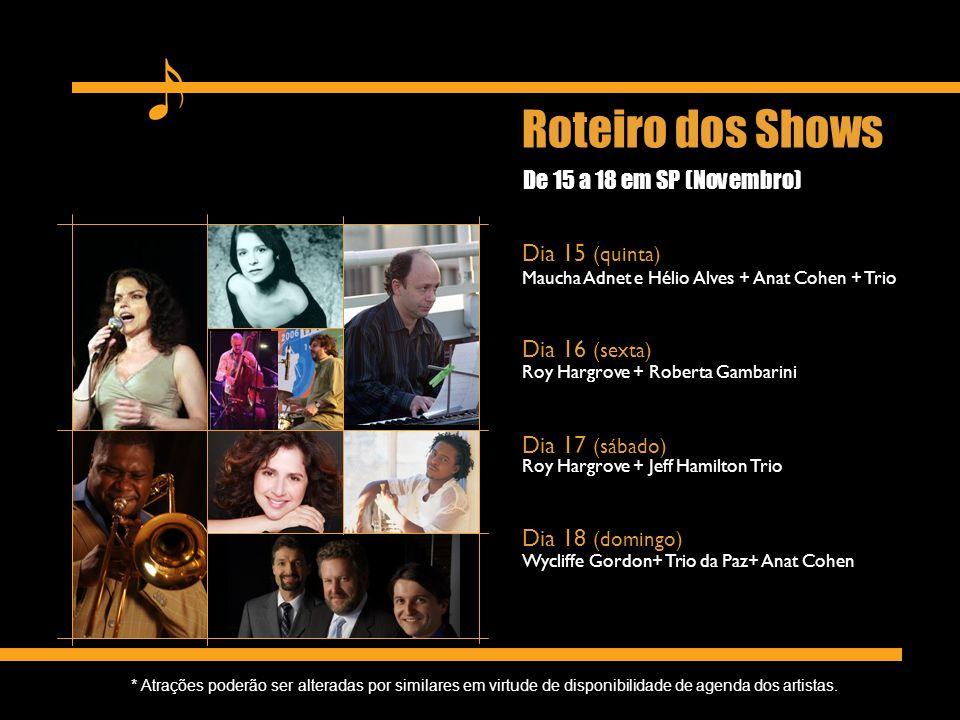 De 15 a 18 em SP (Novembro) Maucha Adnet e Hélio Alves + Anat Cohen + Trio Roy Hargrove + Roberta Gambarini Roy Hargrove + Jeff Hamilton Trio Wycliffe