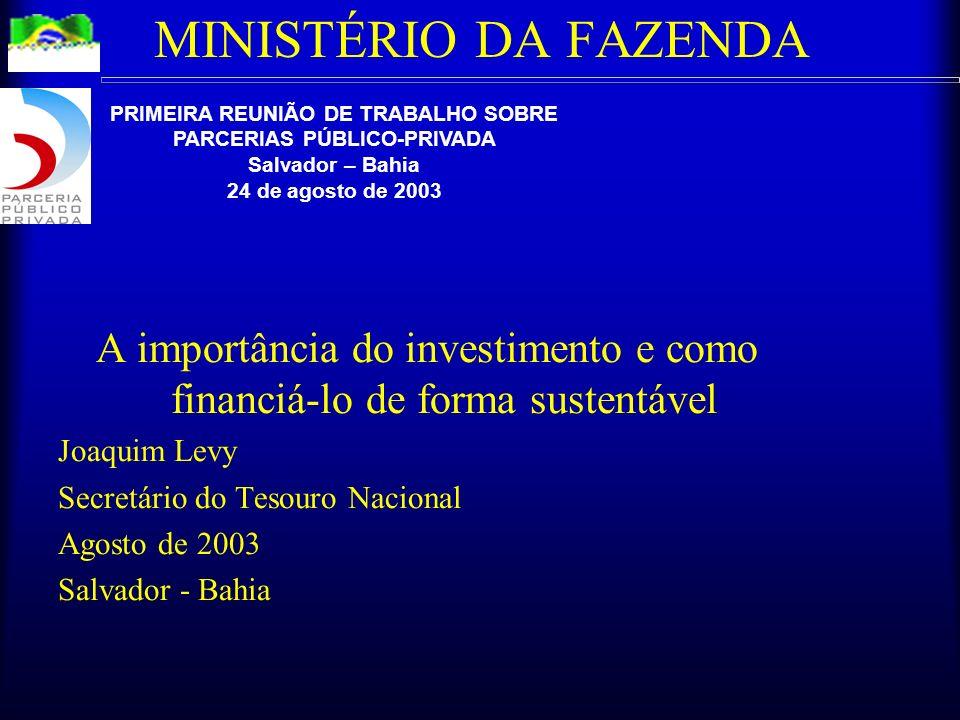 MINISTÉRIO DA FAZENDA A importância do investimento e como financiá-lo de forma sustentável Joaquim Levy Secretário do Tesouro Nacional Agosto de 2003 Salvador - Bahia PRIMEIRA REUNIÃO DE TRABALHO SOBRE PARCERIAS PÚBLICO-PRIVADA Salvador – Bahia 24 de agosto de 2003