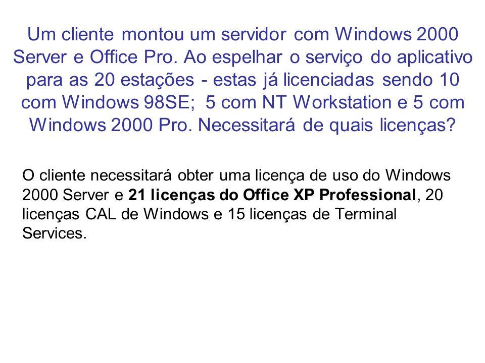 Um cliente montou um servidor com Windows 2000 Server e Office Pro. Ao espelhar o serviço do aplicativo para as 20 estações - estas já licenciadas sen