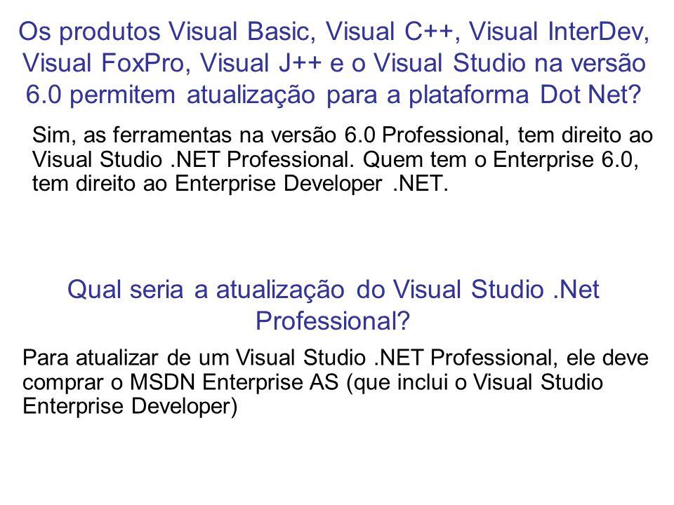 Os produtos Visual Basic, Visual C++, Visual InterDev, Visual FoxPro, Visual J++ e o Visual Studio na versão 6.0 permitem atualização para a plataform