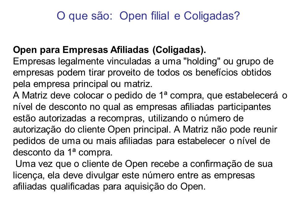 Open para Empresas Afiliadas (Coligadas). Empresas legalmente vinculadas a uma