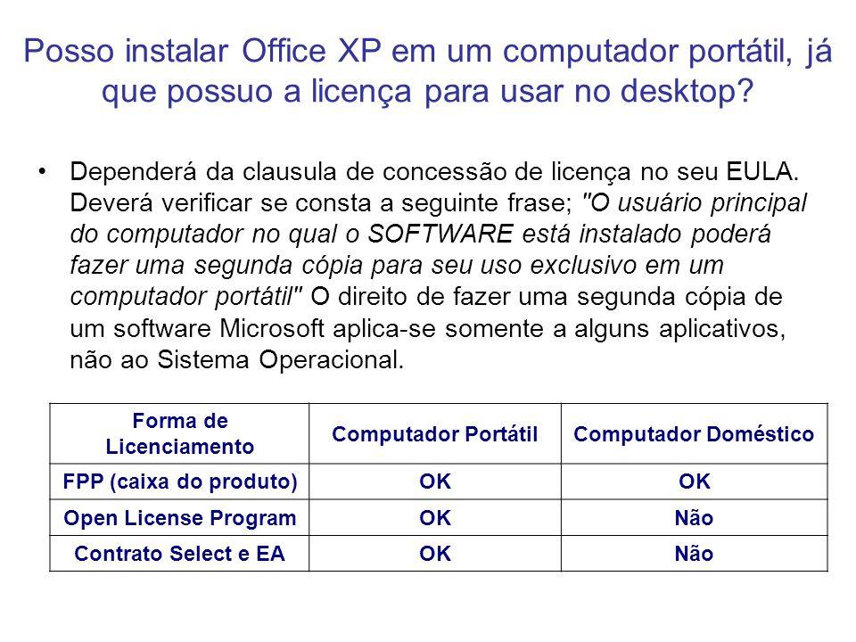 Posso instalar Office XP em um computador portátil, já que possuo a licença para usar no desktop? Dependerá da clausula de concessão de licença no seu