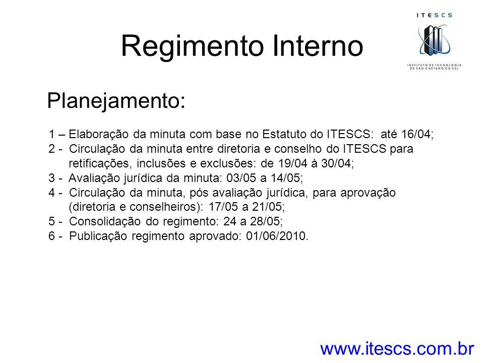 Regimento Interno Planejamento: 1 – Elaboração da minuta com base no Estatuto do ITESCS: até 16/04; 2 - Circulação da minuta entre diretoria e conselh