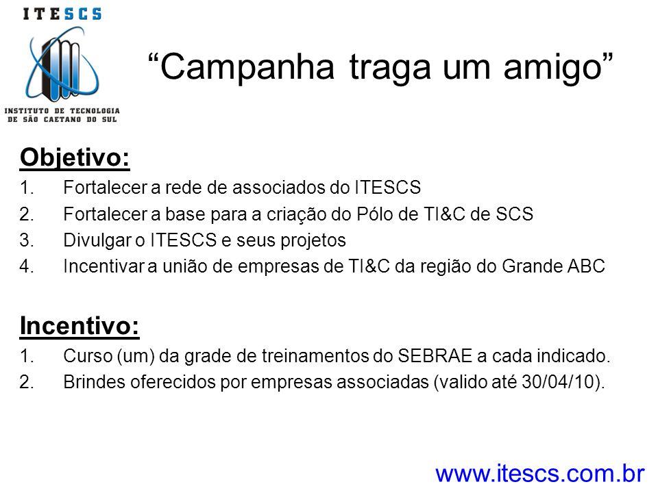 Campanha traga um amigo Objetivo: 1.Fortalecer a rede de associados do ITESCS 2.Fortalecer a base para a criação do Pólo de TI&C de SCS 3.Divulgar o I