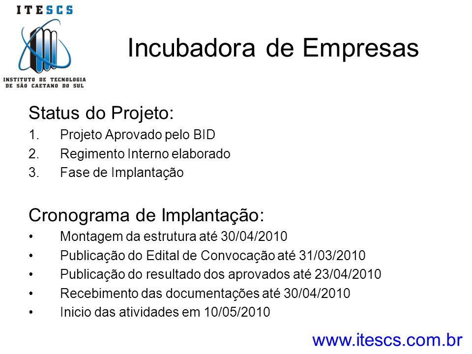 Incubadora de Empresas Status do Projeto: 1.Projeto Aprovado pelo BID 2.Regimento Interno elaborado 3.Fase de Implantação Cronograma de Implantação: M