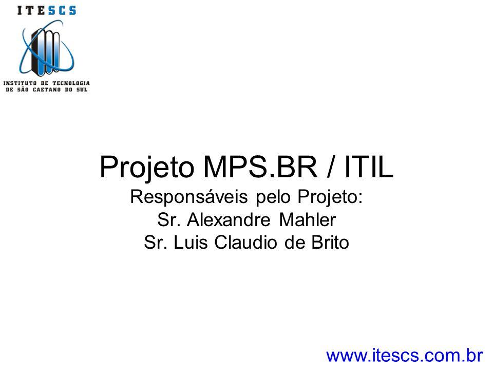 Projeto MPS.BR / ITIL Responsáveis pelo Projeto: Sr. Alexandre Mahler Sr. Luis Claudio de Brito www.itescs.com.br