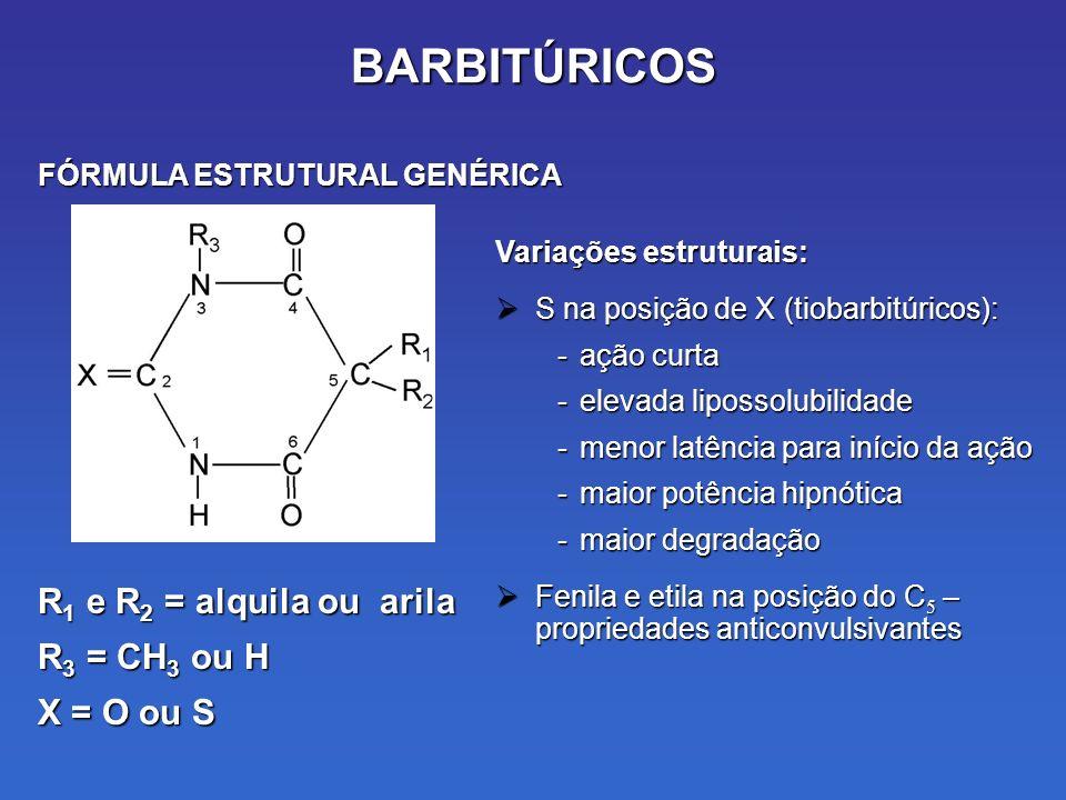 BARBITÚRICOS R 1 e R 2 = alquila ou arila R 3 = CH 3 ou H X = O ou S Variações estruturais: S na posição de X (tiobarbitúricos): S na posição de X (tiobarbitúricos): -ação curta -elevada lipossolubilidade -menor latência para início da ação -maior potência hipnótica -maior degradação Fenila e etila na posição do C 5 – propriedades anticonvulsivantes Fenila e etila na posição do C 5 – propriedades anticonvulsivantes FÓRMULA ESTRUTURAL GENÉRICA