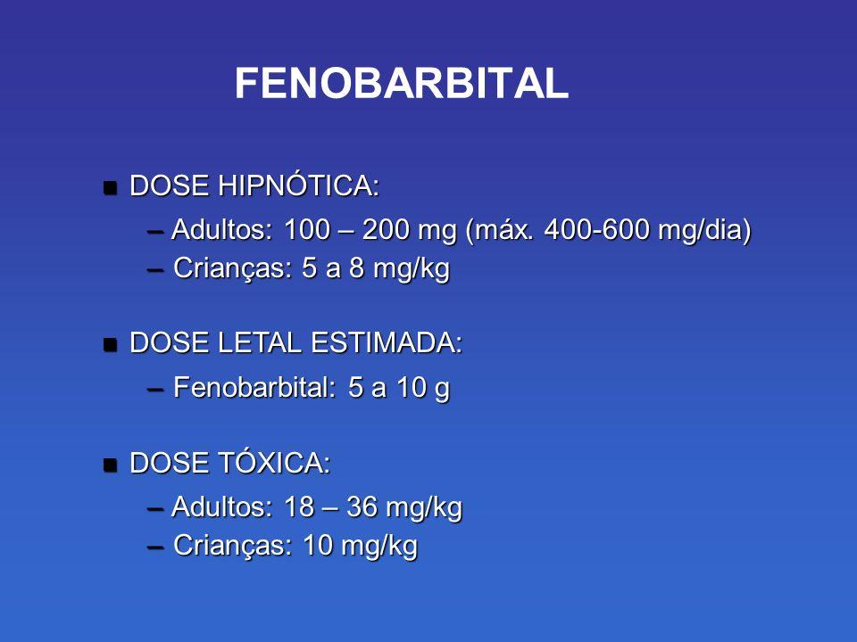 FENOBARBITAL DOSE HIPNÓTICA: DOSE HIPNÓTICA: – Adultos: 100 – 200 mg (máx.