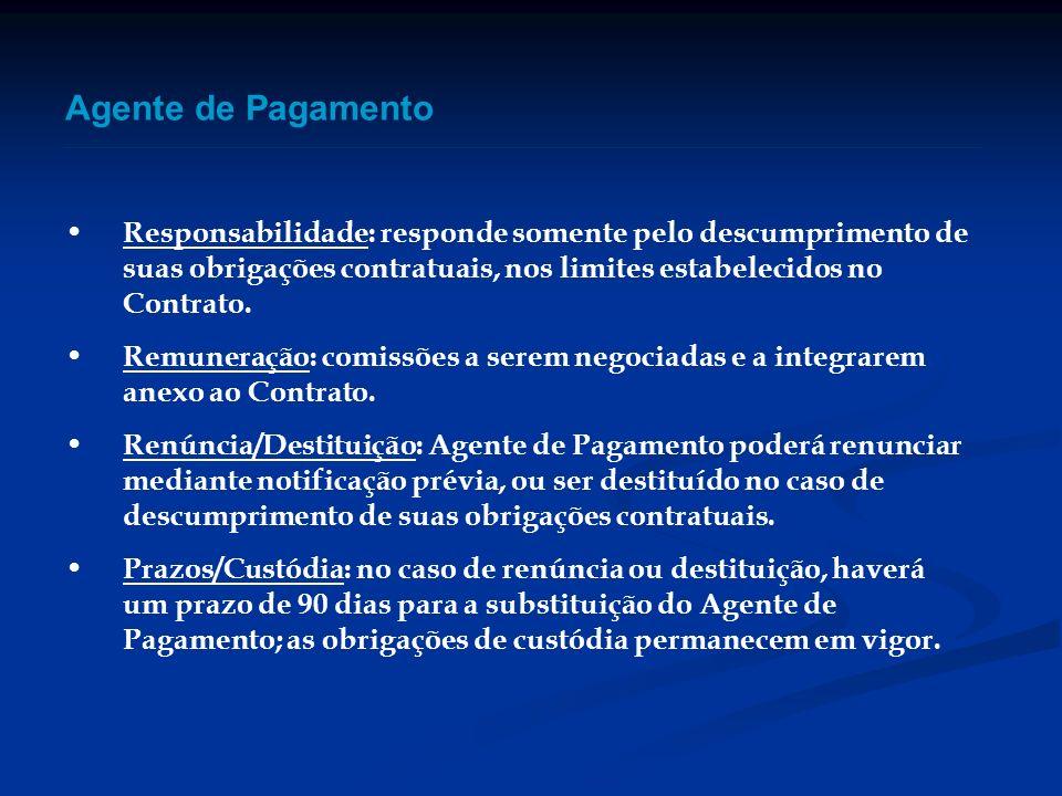 Agente de Pagamento Responsabilidade: responde somente pelo descumprimento de suas obrigações contratuais, nos limites estabelecidos no Contrato. Remu