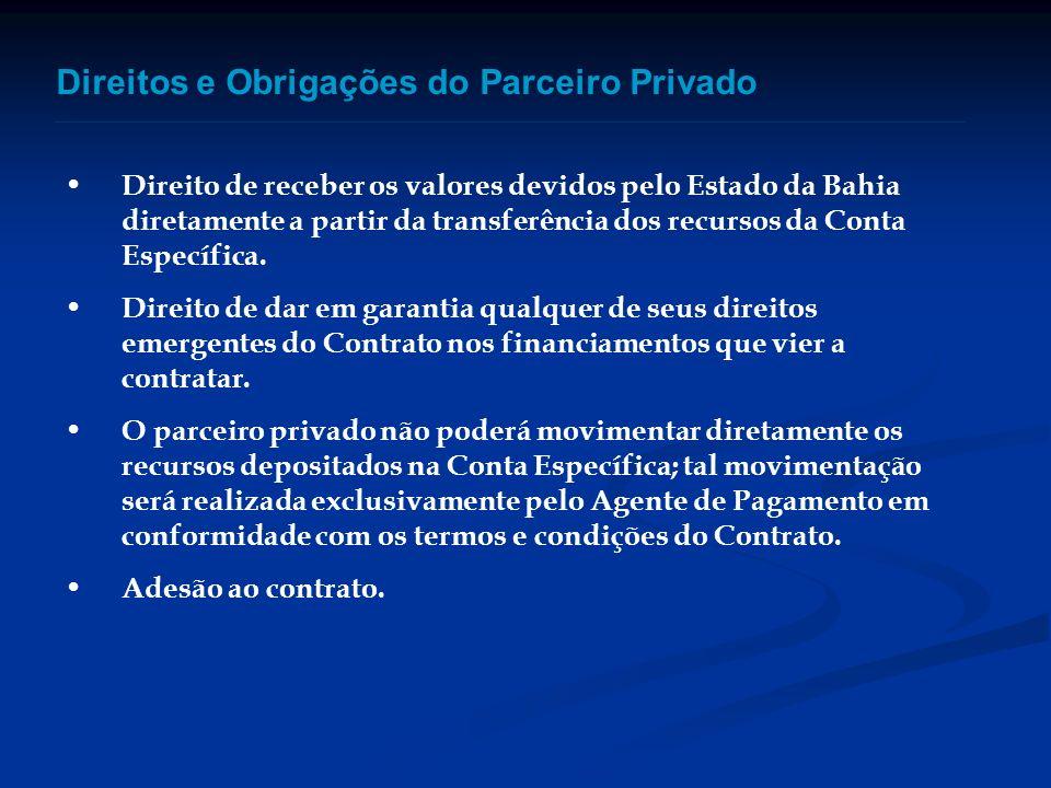 Direitos e Obrigações do Parceiro Privado Direito de receber os valores devidos pelo Estado da Bahia diretamente a partir da transferência dos recurso