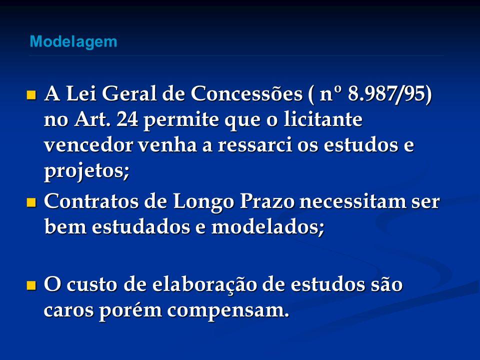 A Lei Geral de Concessões ( nº 8.987/95) no Art. 24 permite que o licitante vencedor venha a ressarci os estudos e projetos; A Lei Geral de Concessões