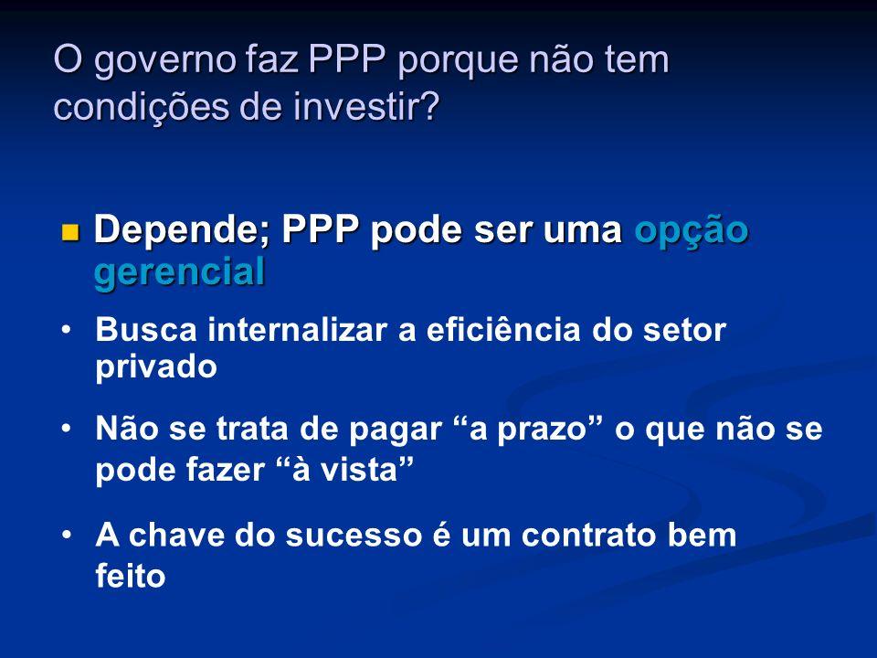 O governo faz PPP porque não tem condições de investir? Depende; PPP pode ser uma opção gerencial Depende; PPP pode ser uma opção gerencial Busca inte