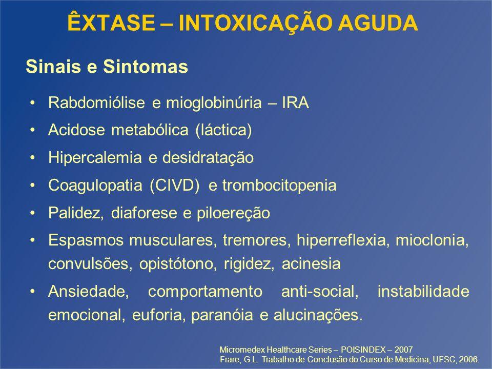 ÊXTASE – INTOXICAÇÃO AGUDA Rabdomiólise e mioglobinúria – IRA Acidose metabólica (láctica) Hipercalemia e desidratação Coagulopatia (CIVD) e trombocit
