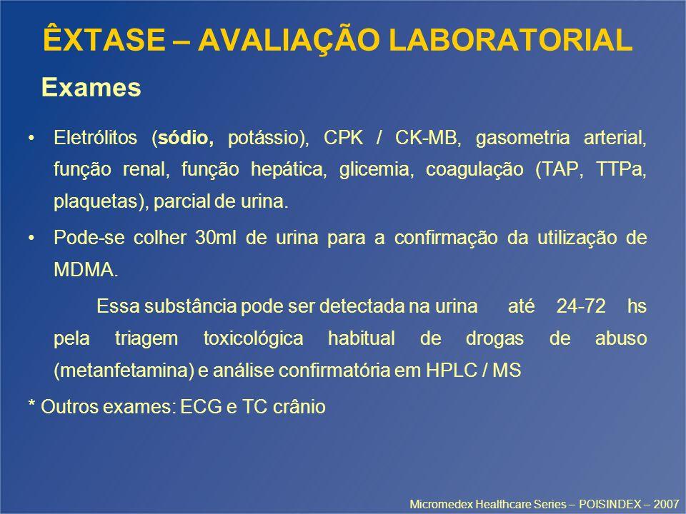 ÊXTASE – AVALIAÇÃO LABORATORIAL Eletrólitos (sódio, potássio), CPK / CK-MB, gasometria arterial, função renal, função hepática, glicemia, coagulação (