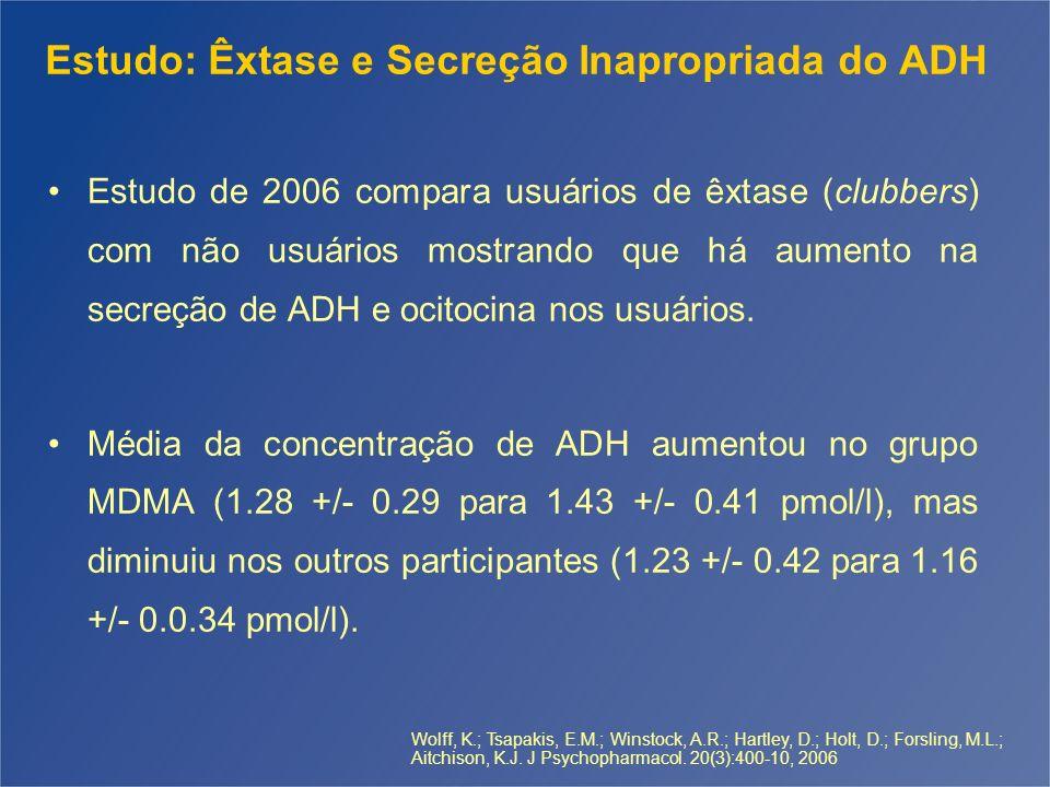 Estudo: Êxtase e Secreção Inapropriada do ADH Estudo de 2006 compara usuários de êxtase (clubbers) com não usuários mostrando que há aumento na secreç