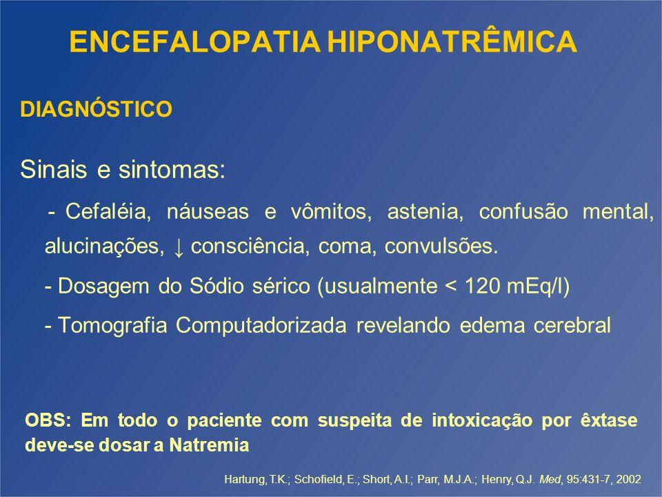ENCEFALOPATIA HIPONATRÊMICA Sinais e sintomas: - Cefaléia, náuseas e vômitos, astenia, confusão mental, alucinações, consciência, coma, convulsões. -