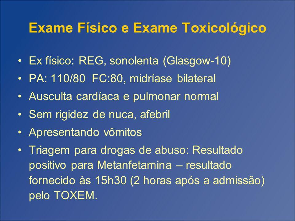 Exame Físico e Exame Toxicológico Ex físico: REG, sonolenta (Glasgow-10) PA: 110/80 FC:80, midríase bilateral Ausculta cardíaca e pulmonar normal Sem