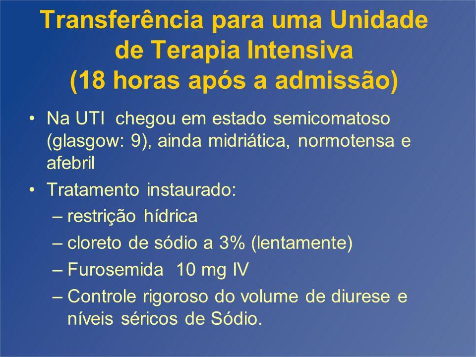 Transferência para uma Unidade de Terapia Intensiva (18 horas após a admissão) Na UTI chegou em estado semicomatoso (glasgow: 9), ainda midriática, no
