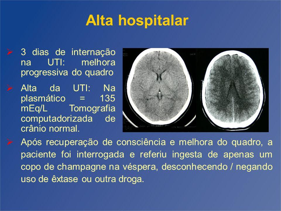 3 dias de internação na UTI: melhora progressiva do quadro Alta da UTI: Na plasmático = 135 mEq/L Tomografia computadorizada de crânio normal. Após re