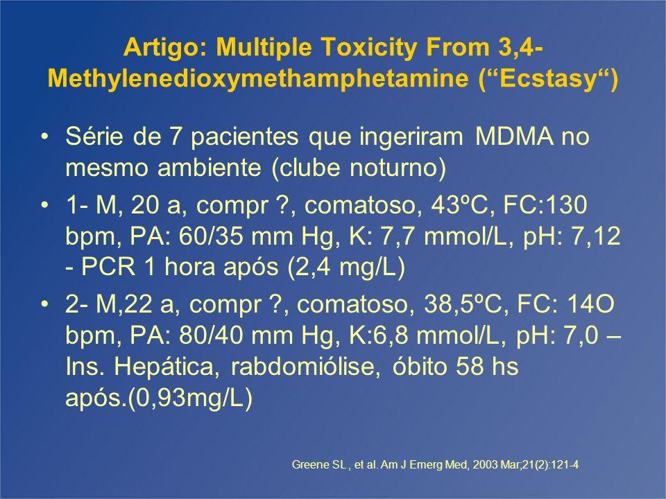 Artigo: Multiple Toxicity From 3,4- Methylenedioxymethamphetamine (Ecstasy) Série de 7 pacientes que ingeriram MDMA no mesmo ambiente (clube noturno)