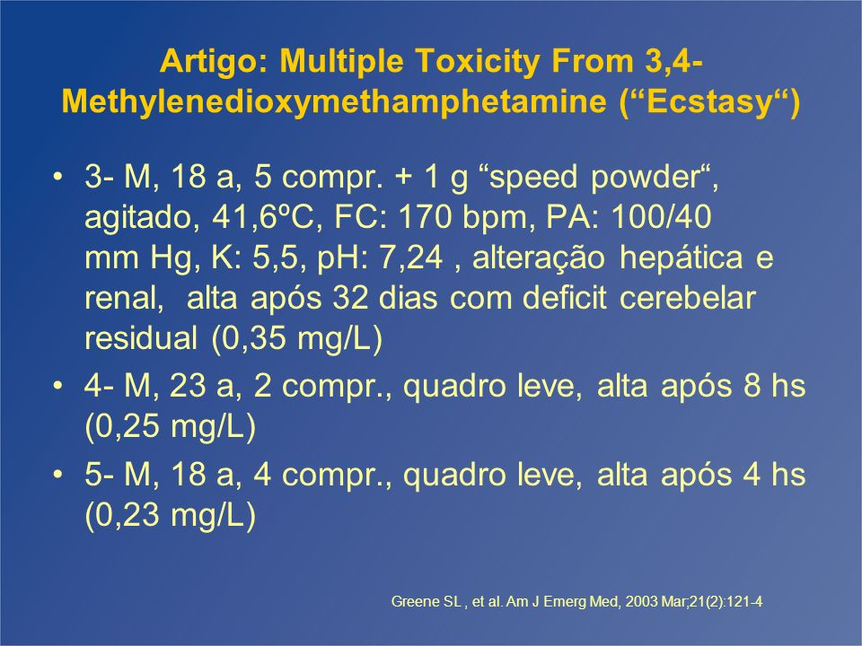 Artigo: Multiple Toxicity From 3,4- Methylenedioxymethamphetamine (Ecstasy) 3- M, 18 a, 5 compr. + 1 g speed powder, agitado, 41,6ºC, FC: 170 bpm, PA: