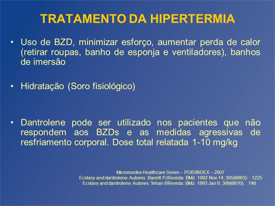 TRATAMENTO DA HIPERTERMIA Uso de BZD, minimizar esforço, aumentar perda de calor (retirar roupas, banho de esponja e ventiladores), banhos de imersão