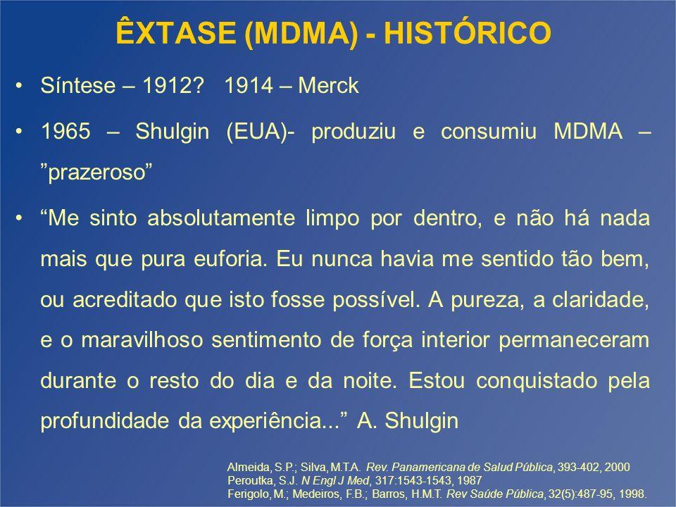 ÊXTASE (MDMA) - HISTÓRICO 1978 – auxiliar psicoterapêutico 1977 a 1984 – época de ouro da pesquisa terapêutica com MDMA 1985 – Episódio China White Até 1985 não era uma substância controlada e era legalmente disponível 1985 – EUA – Comissão de emergência – Categoria 1 1987 – Peroutka – Univ.