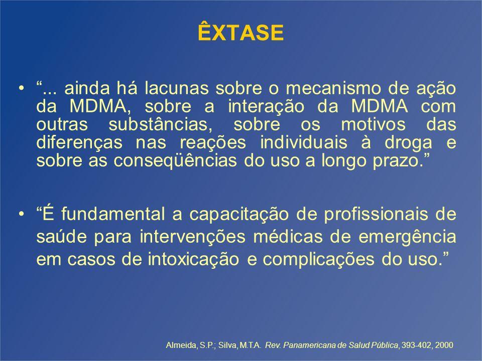 ÊXTASE... ainda há lacunas sobre o mecanismo de ação da MDMA, sobre a interação da MDMA com outras substâncias, sobre os motivos das diferenças nas re