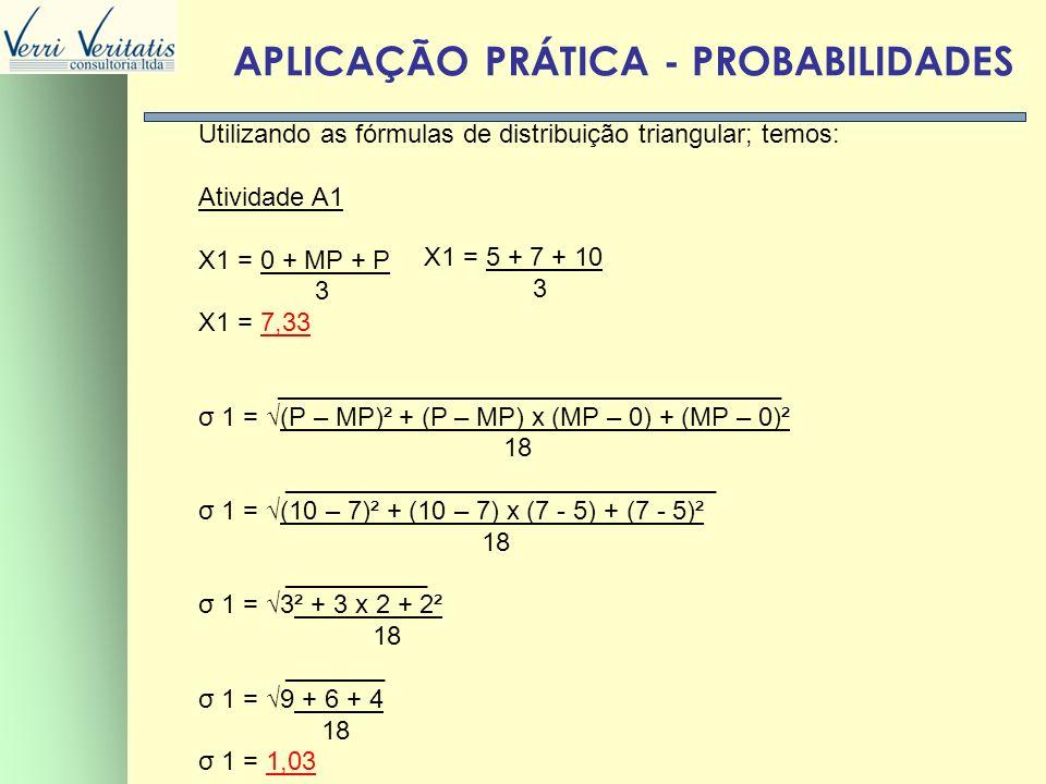 VERRI APLICAÇÃO PRÁTICA - PROBABILIDADES Utilizando as fórmulas de distribuição triangular; temos: Atividade A1 X1 = 0 + MP + P 3 X1 = 7,33 __________