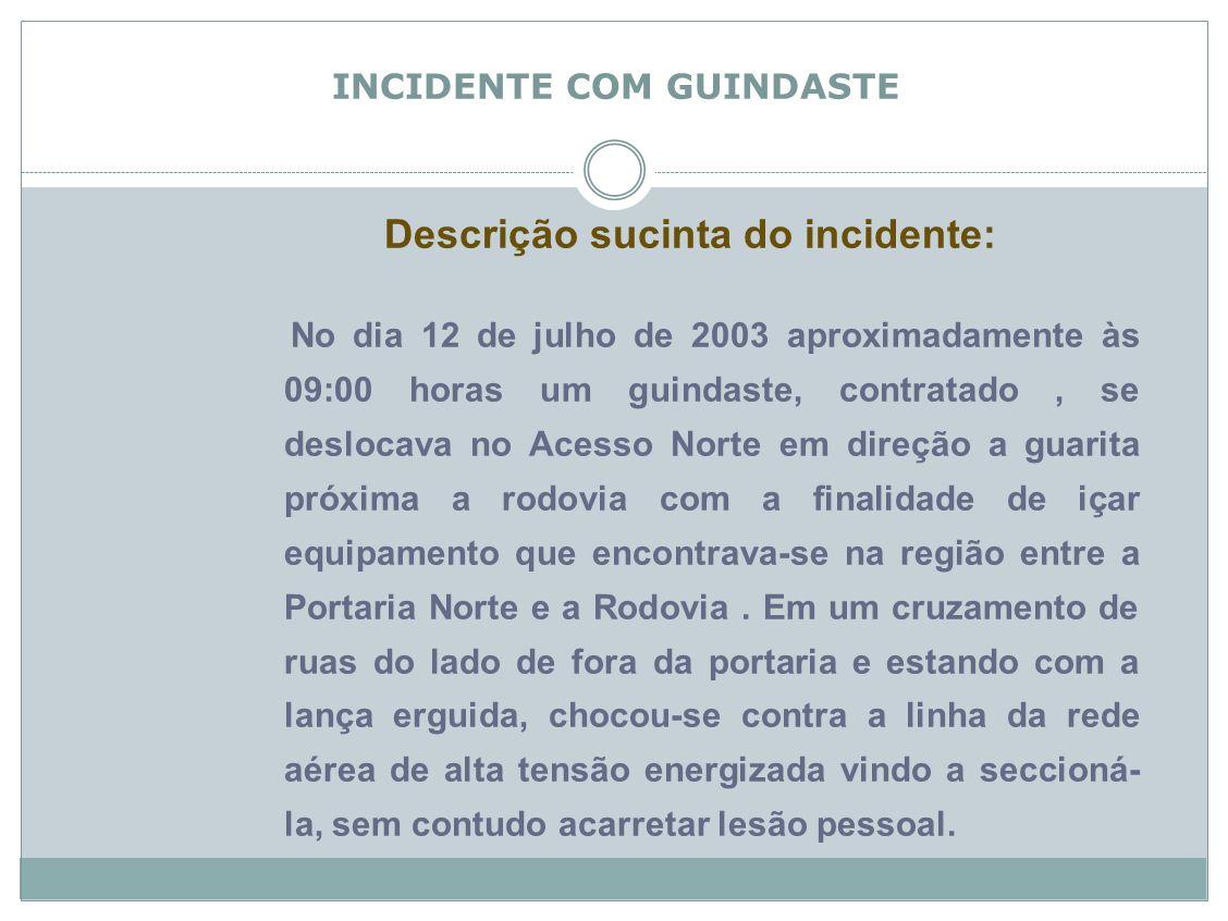 Incidente com Guindaste Descrição sucinta do incidente: No dia 12 de julho de 2003 aproximadamente às 09:00 horas um guindaste, contratado, se desloca