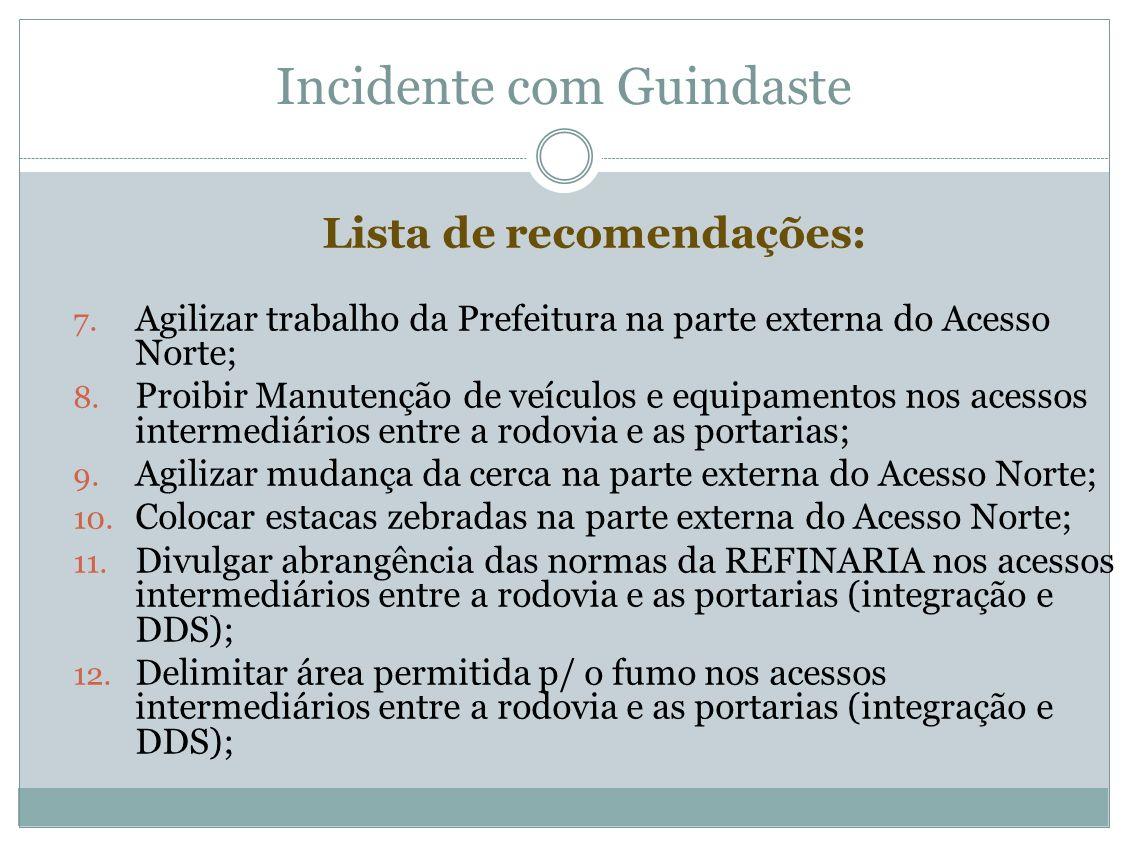 Incidente com Guindaste Lista de recomendações: 7. Agilizar trabalho da Prefeitura na parte externa do Acesso Norte; 8. Proibir Manutenção de veículos