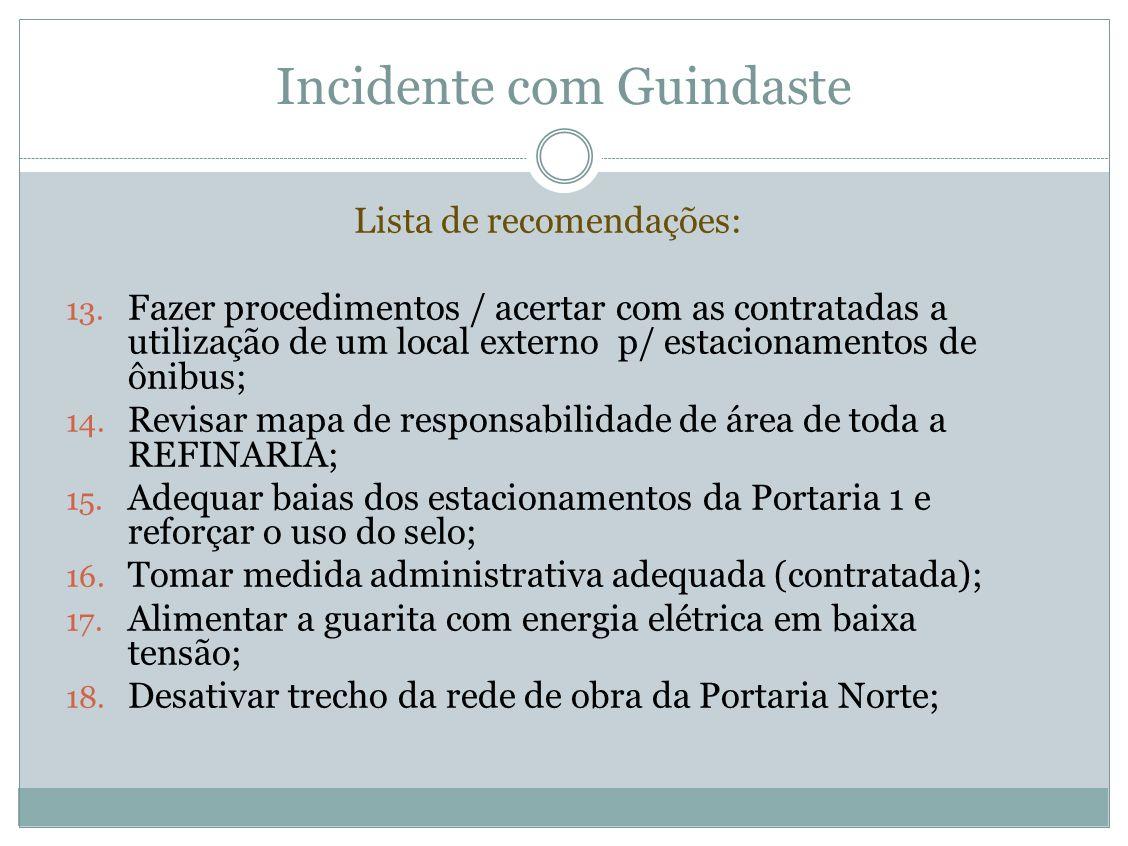 Incidente com Guindaste Lista de recomendações: 13. Fazer procedimentos / acertar com as contratadas a utilização de um local externo p/ estacionament
