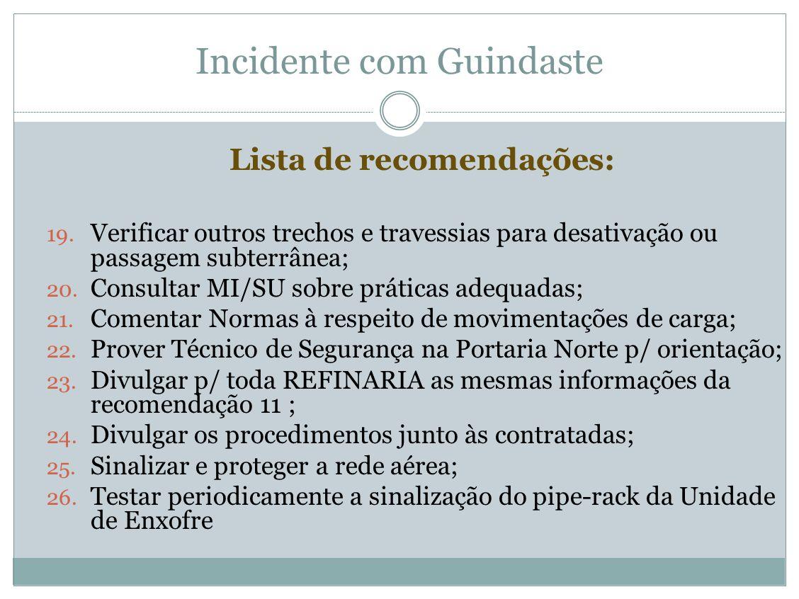 Incidente com Guindaste Lista de recomendações: 19. Verificar outros trechos e travessias para desativação ou passagem subterrânea; 20. Consultar MI/S