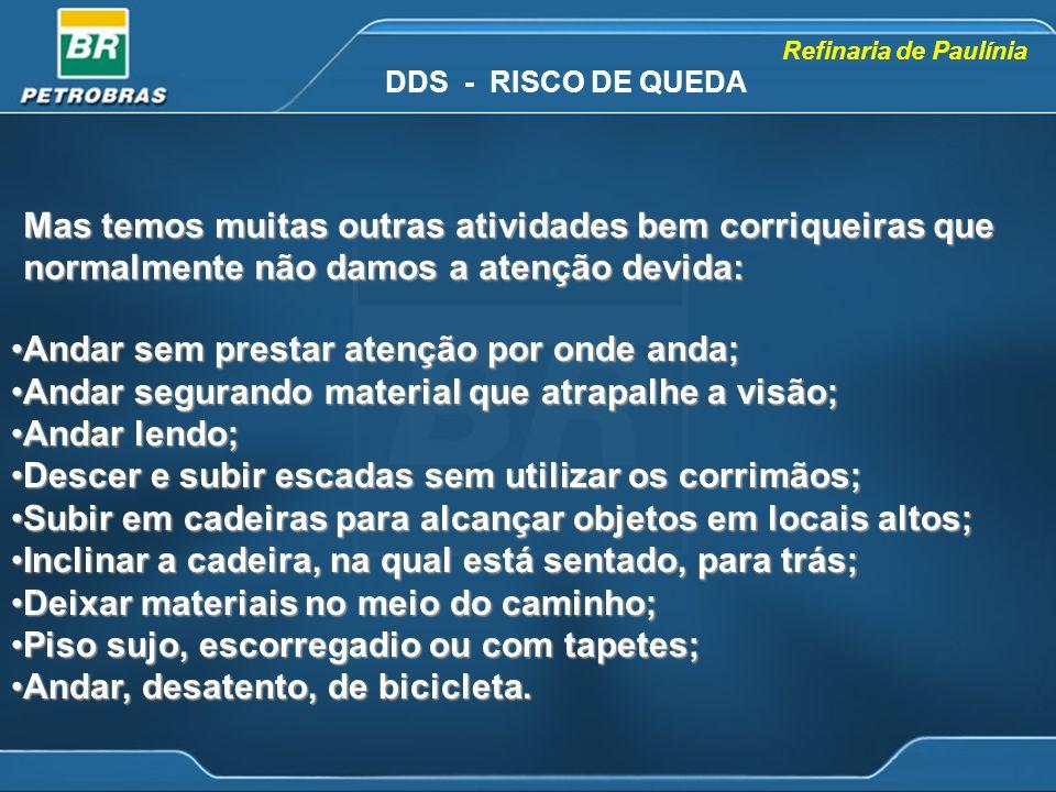 Refinaria de Paulínia Mas temos muitas outras atividades bem corriqueiras que normalmente não damos a atenção devida: DDS - RISCO DE QUEDA Andar sem p