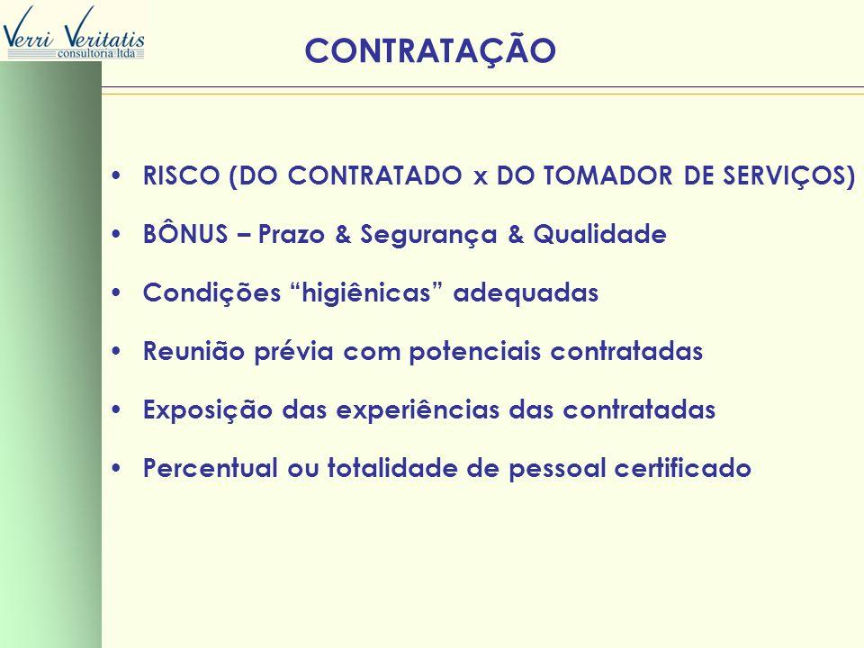 CONTRATAÇÃO RISCO (DO CONTRATADO x DO TOMADOR DE SERVIÇOS) BÔNUS – Prazo & Segurança & Qualidade Condições higiênicas adequadas Reunião prévia com pot