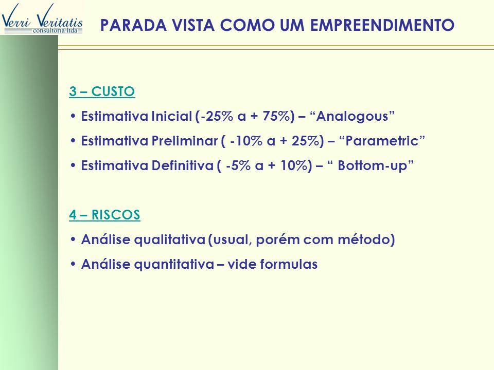 3 – CUSTO Estimativa Inicial (-25% a + 75%) – Analogous Estimativa Preliminar ( -10% a + 25%) – Parametric Estimativa Definitiva ( -5% a + 10%) – Bott